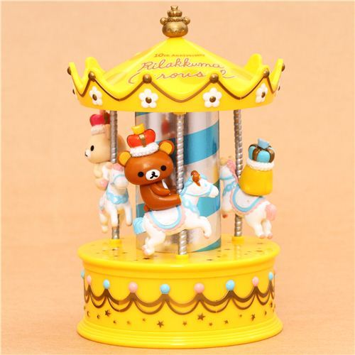 yellow Rilakkuma Wonderland bear carousel jewel case casket