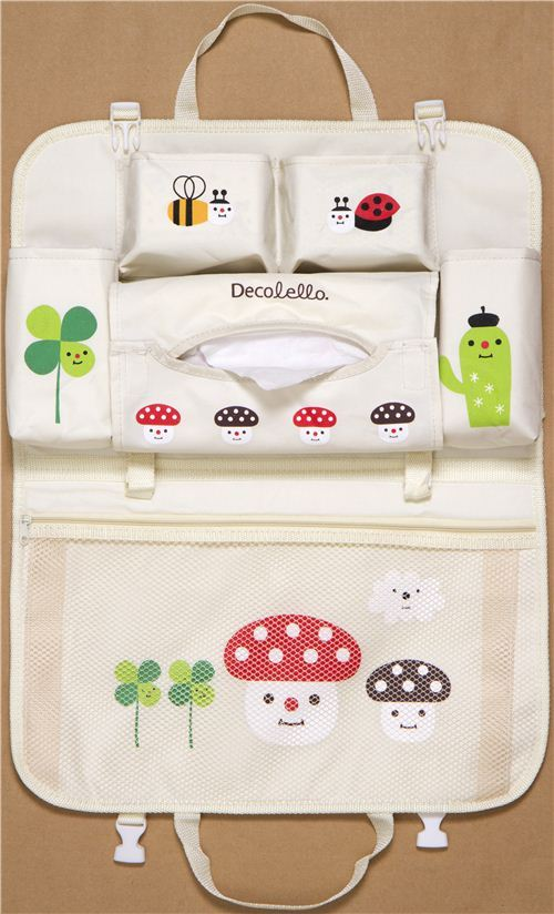cute beige car bag with toadstools from Japan
