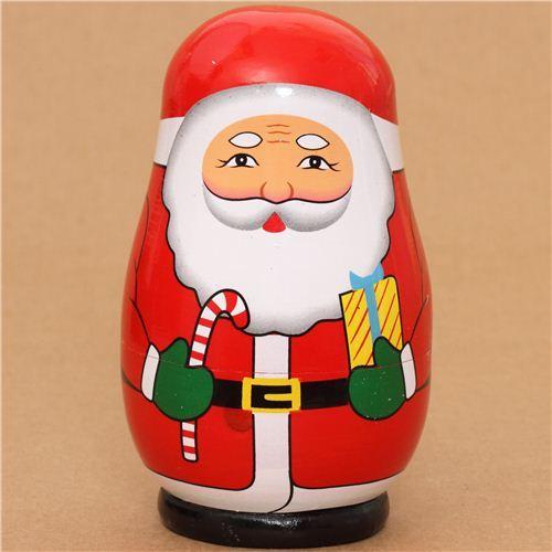 Santa Claus matryoshka stackable wooden figure nesting doll