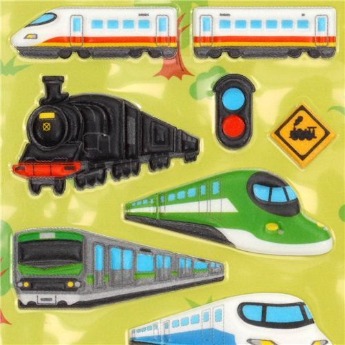 3D sponge sticker set with train train station track