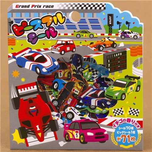 cool racing cars glitter sticker sack from Japan