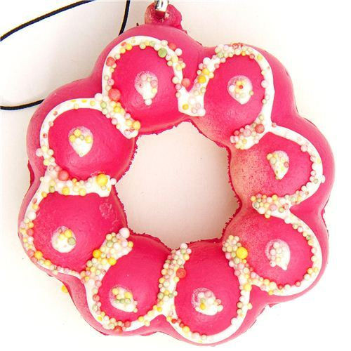 pink flower donut squishy charm with sprinkles