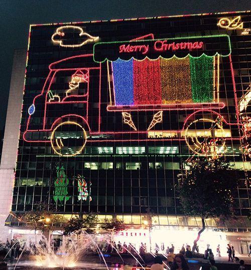 Funny Xmas lights at New Mandarin Plaza with Santa's ice cream truck.