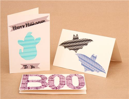 Craft kawaii Halloween cards with Washi Tape