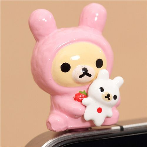 Rilakkuma white bear bunny mobile phone plug earphone jack