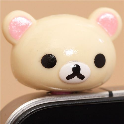 Rilakkuma white bear head mobile phone plug earphone jack
