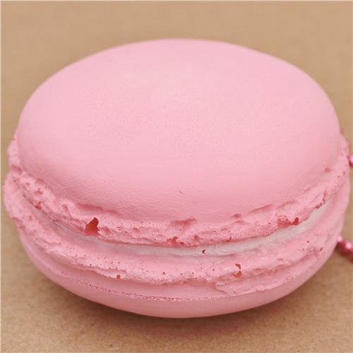 cute light pink macaron ice sandwich squishy cellphone charm kawaii