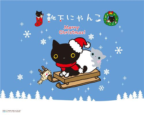 cute Kutusita Nyanko Christmas wallpaper