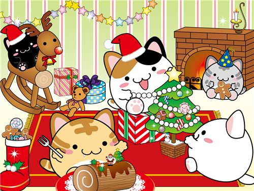 Maruneko Christmas wallpaper