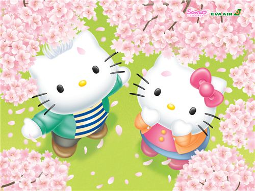 Hello Kitty and Dear Daniel on a cherry blossom wallpaper found on kawaiiwallpapers.com