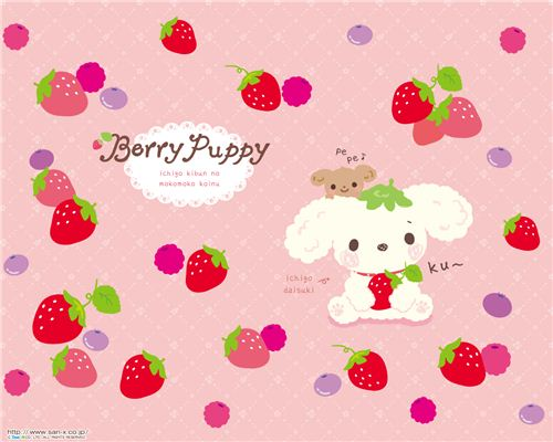 Berry Puppy strawberry wallpaper