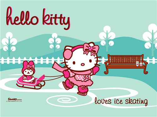 Ice-Skating Hello Kitty wallpaper spotted on kawaiiwallpapers.com