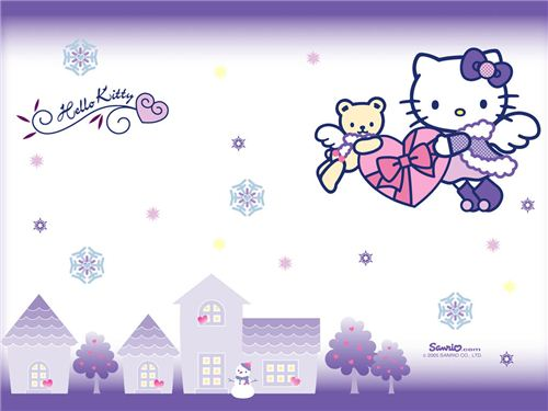 Hello Kitty with snowflakes wallpaper from kawaiiwallpapers.com