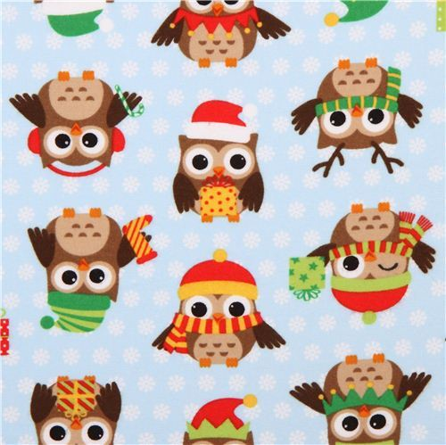 blue Christmas owl flannel fabric Holiday Hoot