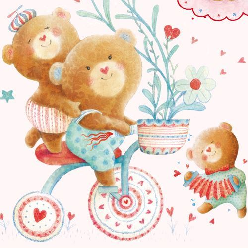 light cream pink bear bicycle heart panel fabric StudioE 'Puffy Teddy'