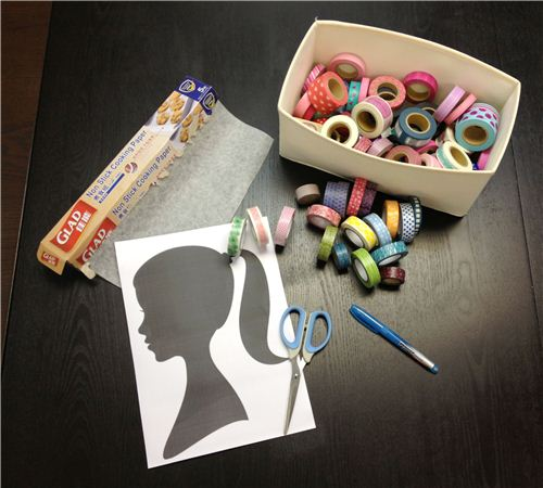 You need: Washi Tapes, a side-face picture of yourself, scissors, pen and baking paper