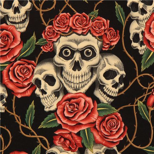 black Alexander Henry fabric roses and beige skulls