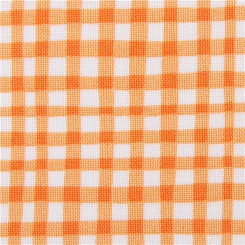 orange white Michael Miller fabric checkered pattern Gingham Play