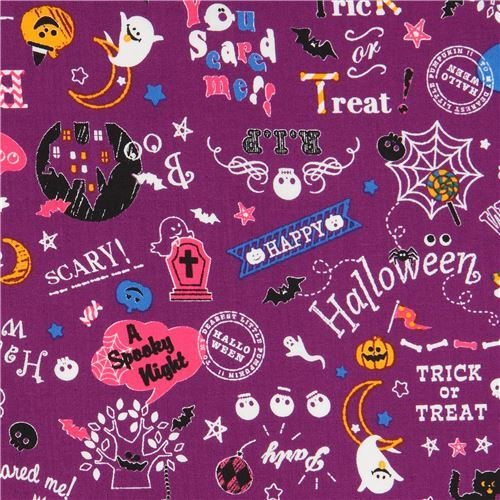 purple Cosmo Halloween fabric with ghosts