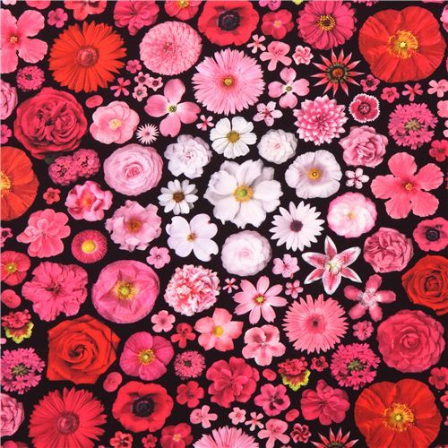 Bloominescent pink flowers Poplin fabric Robert Kaufman