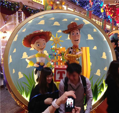 Woody and Jessie from Toy Story - unfortunately there was no shot possible without people