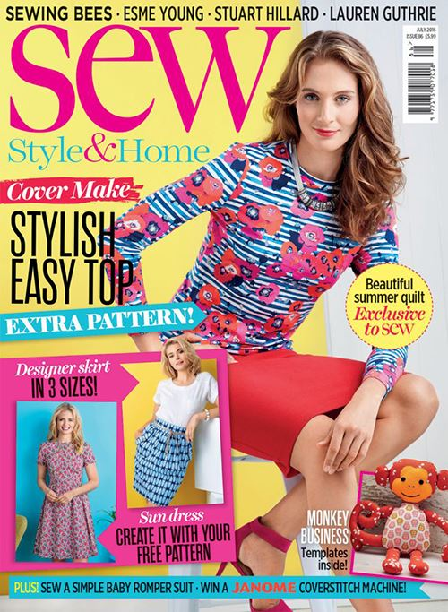 Sew Magazine's July edition featuring our giveaway. Image courtesy of Sew Magazine.