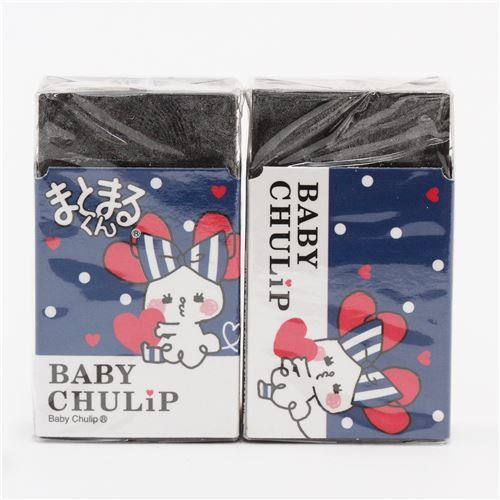 dark blue white dot Baby Chulip mouse black scented eraser from Japan