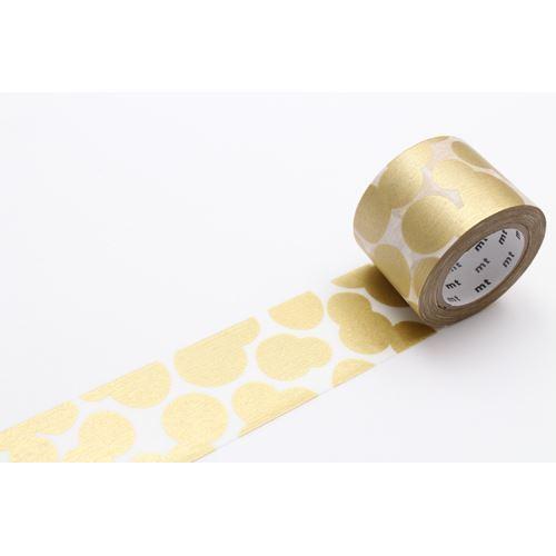 mt Washi Masking Tape designer deco tape white gold metallic circle dot