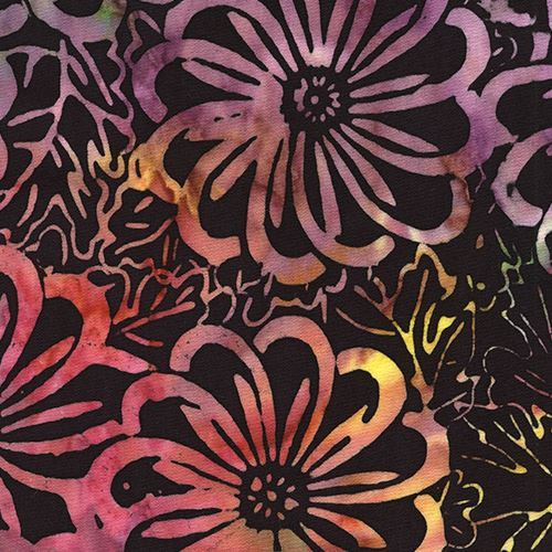 black batik purple lime green flower fabric by Timeless Treasures