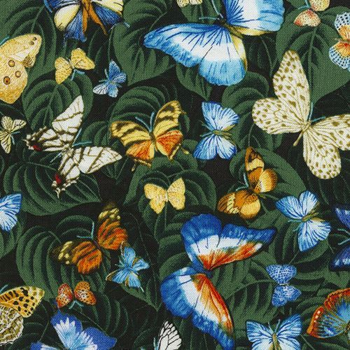 fabric with green leaf colorful butterfly insect by Timeless Treasures