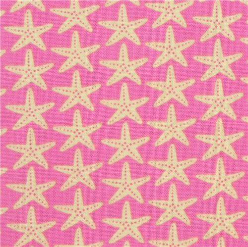 pink with light yellow starfish fabric Timeless Treasures