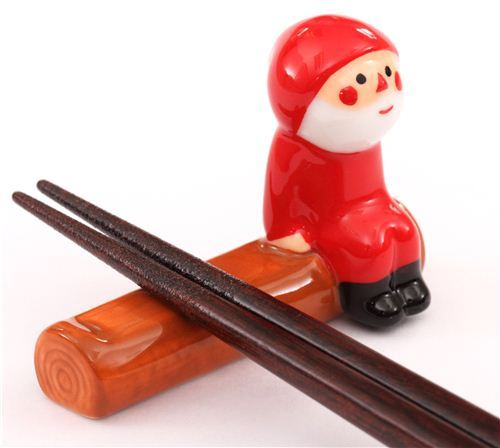 Santa Claus Christmas ceramic chopstick rest figurine Japan