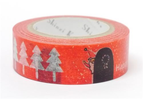 red with Christmas tree Santa Washi Masking Tape deco tape Shinzi Katoh