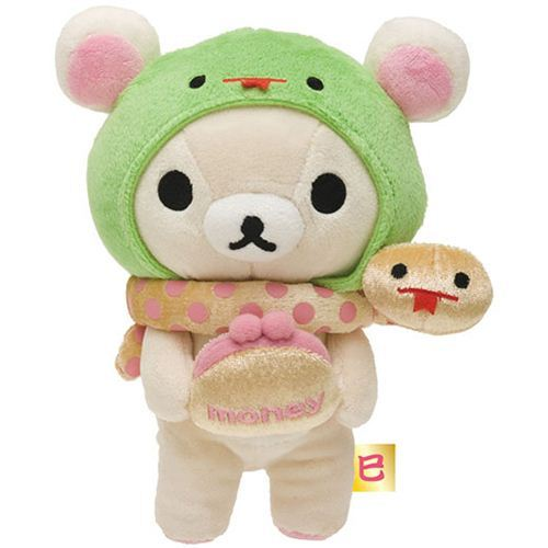 Rilakkuma white plush bear with snake and wallet