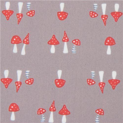 taupe with small mushroom poplin organic fabric monaluna USA
