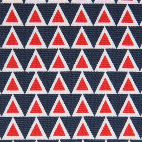 white red navy blue triangle canvas organic fabric by monaluna