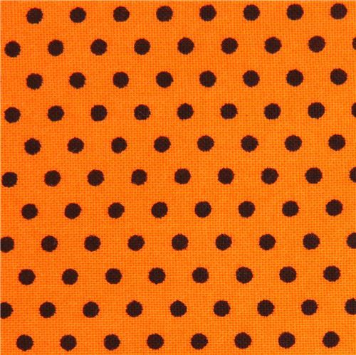 orange Robert Kaufman mini black dot fabric Spot On