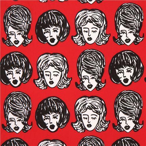 red Robert Kaufman fabric women face Bouffants and Broken Hearts