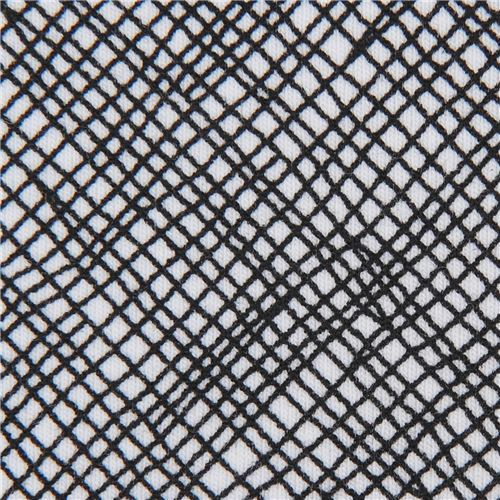black and white grid pattern knit fabric Robert Kaufman USA Blake Cotton Jersey