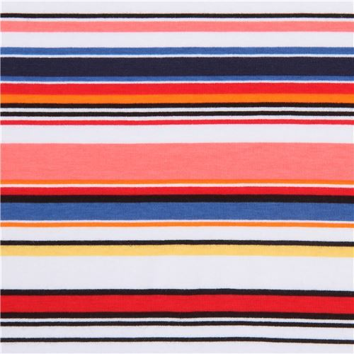 stripe red yellow pink Robert Kaufman Laguna Jersey knit fabric