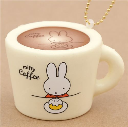 cute cream color Miffy bunny rabbit coffee mug squishy for  backpack