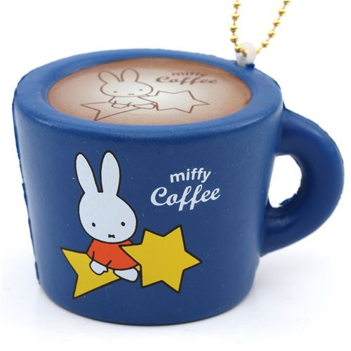 cute dark blue Miffy bunny rabbit coffee mug squishy for  backpack