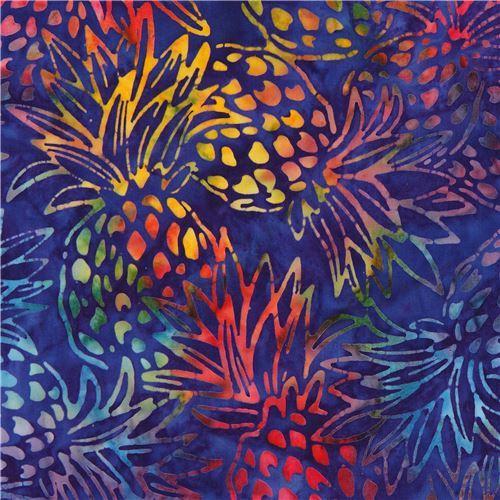 dark purple Robert Kaufman pineapple tie dye Batik look fabric Totally Tropical