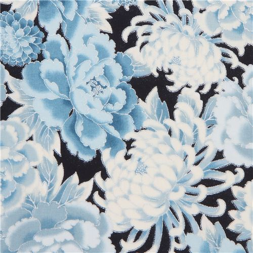 navy blue Robert Kaufman flower fabric with silver embellishment
