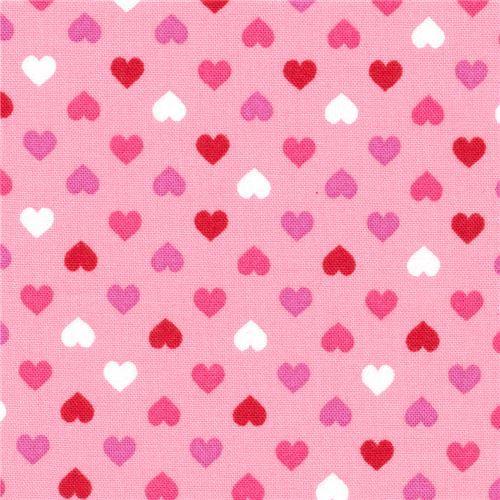 pink Robert Kaufman mini red hot pink heart fabric Sevenberry Petite Classiques