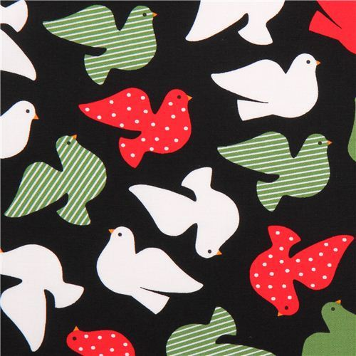 black Christmas fabric with dove of peace Black Jingle 3 Royal Robert Kaufman