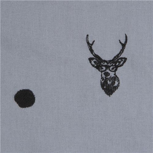 grey echino embroidered canvas fabric with deer stag animal circle dot