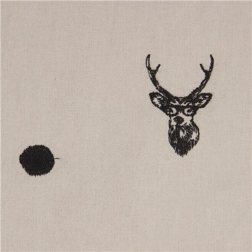 light taupe echino embroidered canvas fabric with deer stag animal circle dot