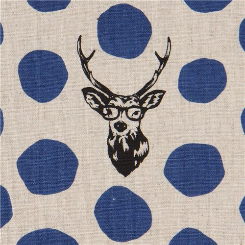 natural color echino canvas laminate fabric stag dark blue dot Sambar