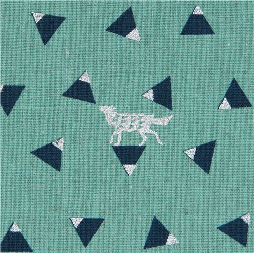 sea green echino canvas fabric with shape silver metallic Triangle